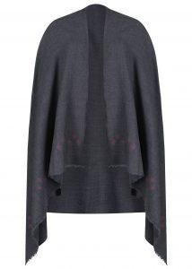 Handwoven Oversize Blanket Scarf with Crosses 100 X 200cm Grey