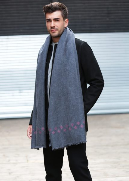 Handwoven Oversize Blanket Scarf with Crosses 100 X 200cm Grey