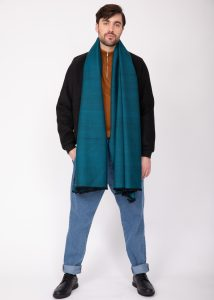 Handwoven Oversize Scarf in Teal Twill Mix Weave 100 X 200cm