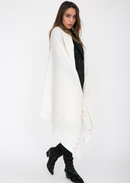 Handwoven Pashmina & Blanket Scarf with Crosses 100 X 200cm Cream