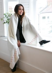 Handwoven Pashmina & Blanket Scarf with Crosses 100 X 200cm Cream