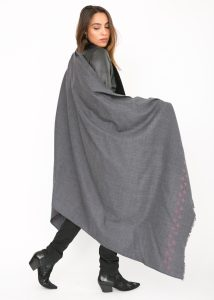 Handwoven Pashmina & Blanket Scarf with Crosses 100 X 200cm Grey
