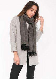 Herringbone Handloom Merino Wool Pashmina Scarf Black 200 X 75cm
