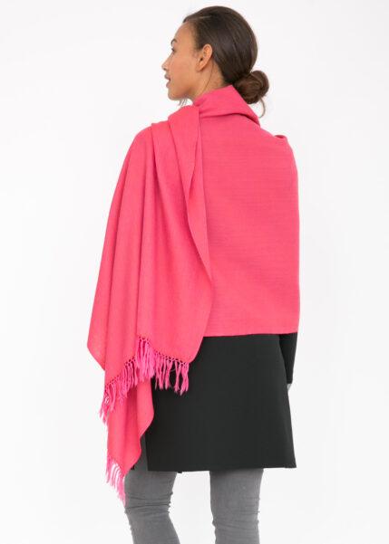 Herringbone Handloom Merino Wool Pashmina Scarf Coral 200 X 75cm