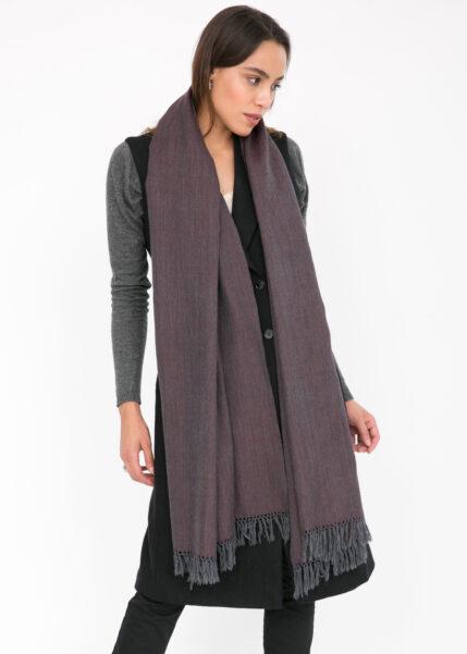 Herringbone Handloom Merino Wool Pashmina Scarf Raisin 200 X 75cm