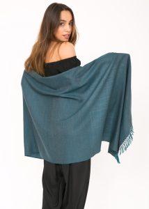 Herringbone Handloom Merino Wool Pashmina Scarf Teal 200 X 75cm