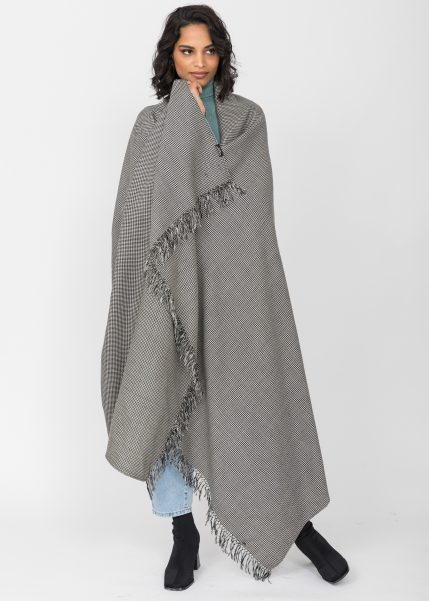 Houndstooth Handwoven 100% Merino Wool Throw and Oversize Blanket Scarf Black & White