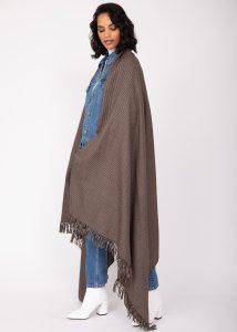 Houndstooth Handwoven 100% Merino Wool Throw and Oversize Blanket Scarf Mocha Brown