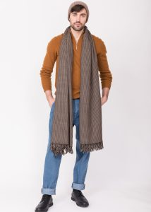 Houndstooth Handwoven 100% Merino Wool Throw and Oversize Blanket Scarf Mocha Brown