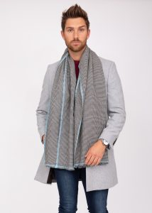 Houndstooth Merino Handwoven Men's Oversize Scarf 60 X 190cm with Crystal Blue