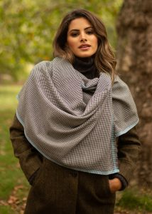Houndstooth Merino Handwoven Pashmina & Oversize Scarf 60 X 190cm with Crystal Blue