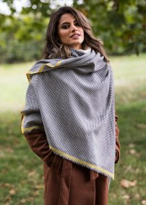 Houndstooth Merino Handwoven Pashmina & Oversize Scarf 75 X 200cm with Inca Yellow