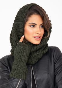 Infinity Snood Scarf Merino Wool Camo Green