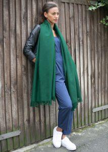Kasa Merino Handwoven Pashmina & Blanket Scarf 100 X 200cm Green