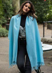 Kasa Merino Handwoven Pashmina & Oversize Scarf 75 X 200cm Crystal Blue