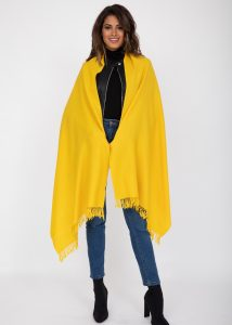 Kasa Merino Handwoven Pashmina & Oversize Scarf 75 X 200cm Inca Yellow