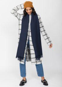 Kasa Merino Wool Pashmina & Oversize Scarf 100 X 200cm Navy