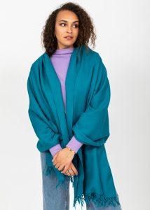 Kasa Merino Wool Pashmina & Oversize Scarf 100 X 200cm Peacock Teal