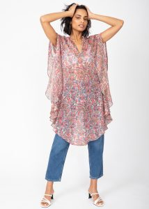 Floaty Kaftan Dress in Multi Print with Silver