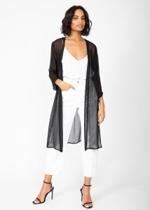 Kimono Cover Up in Sheer Black with Silver Sparkle