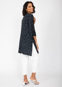 Kimono Cover Up with Lace Trim in Black & Green Leaves