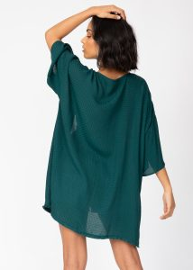 Kimono Cover Up with Fringing in Emerald Green