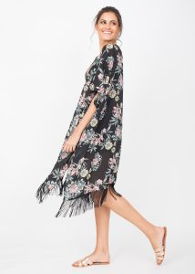 Kimono Cover Up With Tassels Floral Print Black