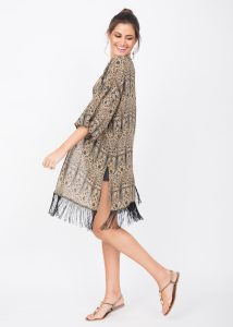 Kimono Cover Up With Tassels Paisely Print