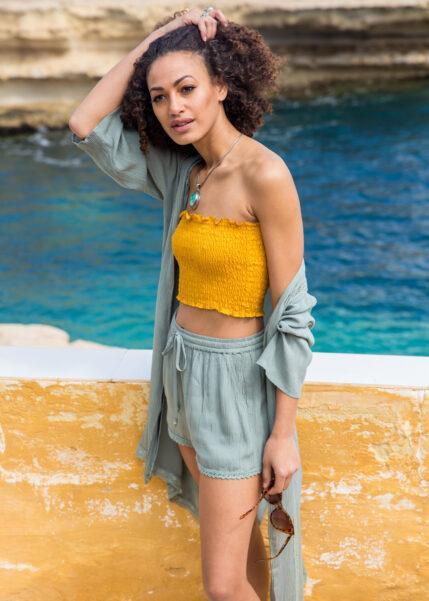 Lace Trim Crinkle Summer Kaftan Pistacchio