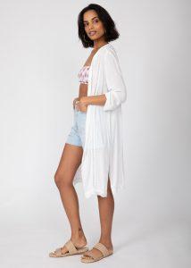 Lace Trim Crinkle Summer Kimono Kaftan White