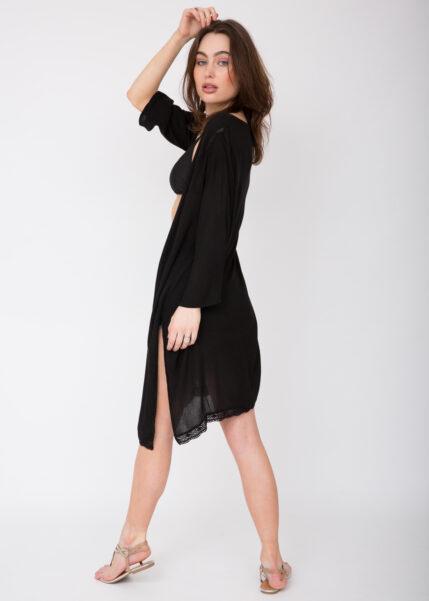 Lace Trim Crinkle Summer Kimono Kaftan Black