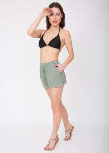 Lace Trim Crinkle Summer Shorts Pistacchio