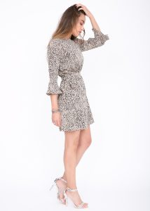 Leopard Trumpet Sleeve Skater Dress