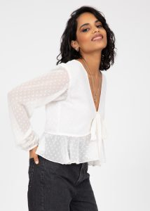 Long Puff Sleeve Butterfly Top In Ivory White