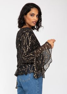 Long Trumpet Sleeve Butterfly Top In Black and Gold