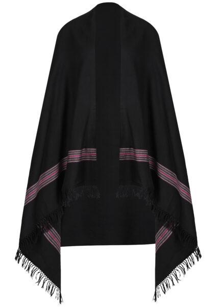 Mansi Mens Merino Oversize Scarf Black 100 x 200cm