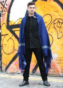 Mansi Mens Merino Oversize Scarf Blue 100 X 200cm