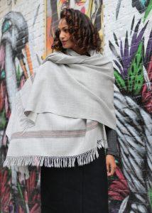 Mansi Merino Handwoven Shawl & Oversize Scarf Stone Grey
