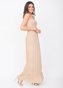 Maxi Dress Bandeau Tie Back Biscuit Beige
