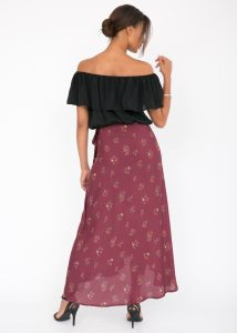 Maxi Floral Print Wrap Skirt