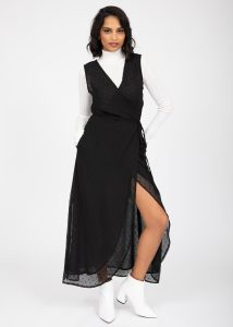 Maxi Wrap Dress with Side Split in Black