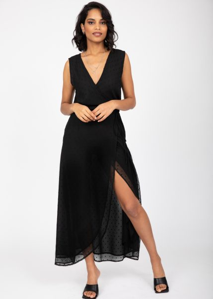 Maxi Wrap Dress with Side Split in Black