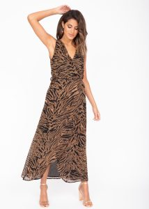 Maxi Wrap Dress With Side Split Tiger Print