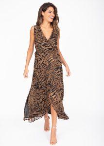 Maxi Wrap Dress With Side Split Tiger Print