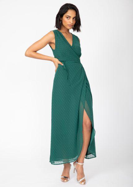 Maxi Wrap Dress With Side Split in Emerald Green