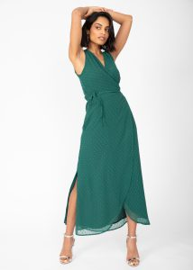 Maxi Wrap Dress With Side Split in Emerald Green