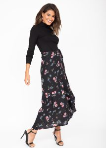 Maxi Wrap Skirt Black Floral Print