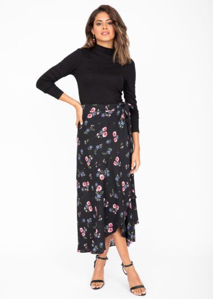 Maxi Wrap Skirt Black Floral Print