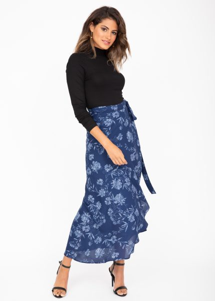 Maxi Wrap Skirt Blue Floral Print