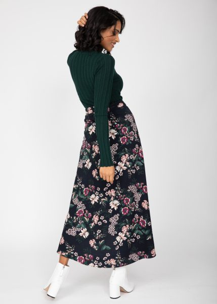 Maxi Wrap Skirt in Midnight Floral Black
